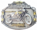 Moto Guzzi Motorcycle Gold and Silver Plated Belt Buckle with display stand. Code HA4